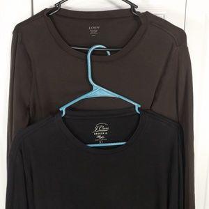 J Crew (2) Two Long Sleev T-Shirts Brown & Black L